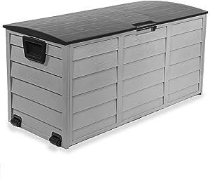 Barton Premium 63-Gallons Deck Box Patio Storage Box Container Furniture Pools Yard Tools Porch Backyard w/Built-in Wheel