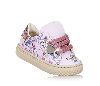 MONNALISA Hellrosa Schuh mit Schnürsenkeln aus Leder, made