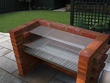 Grande acero inoxidable DIY barbacoa de carbón de ladrillo Kit 910 mm