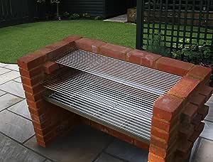Grande acero inoxidable DIY barbacoa de carbón de ladrillo Kit 910 mm: Amazon.es: Jardín