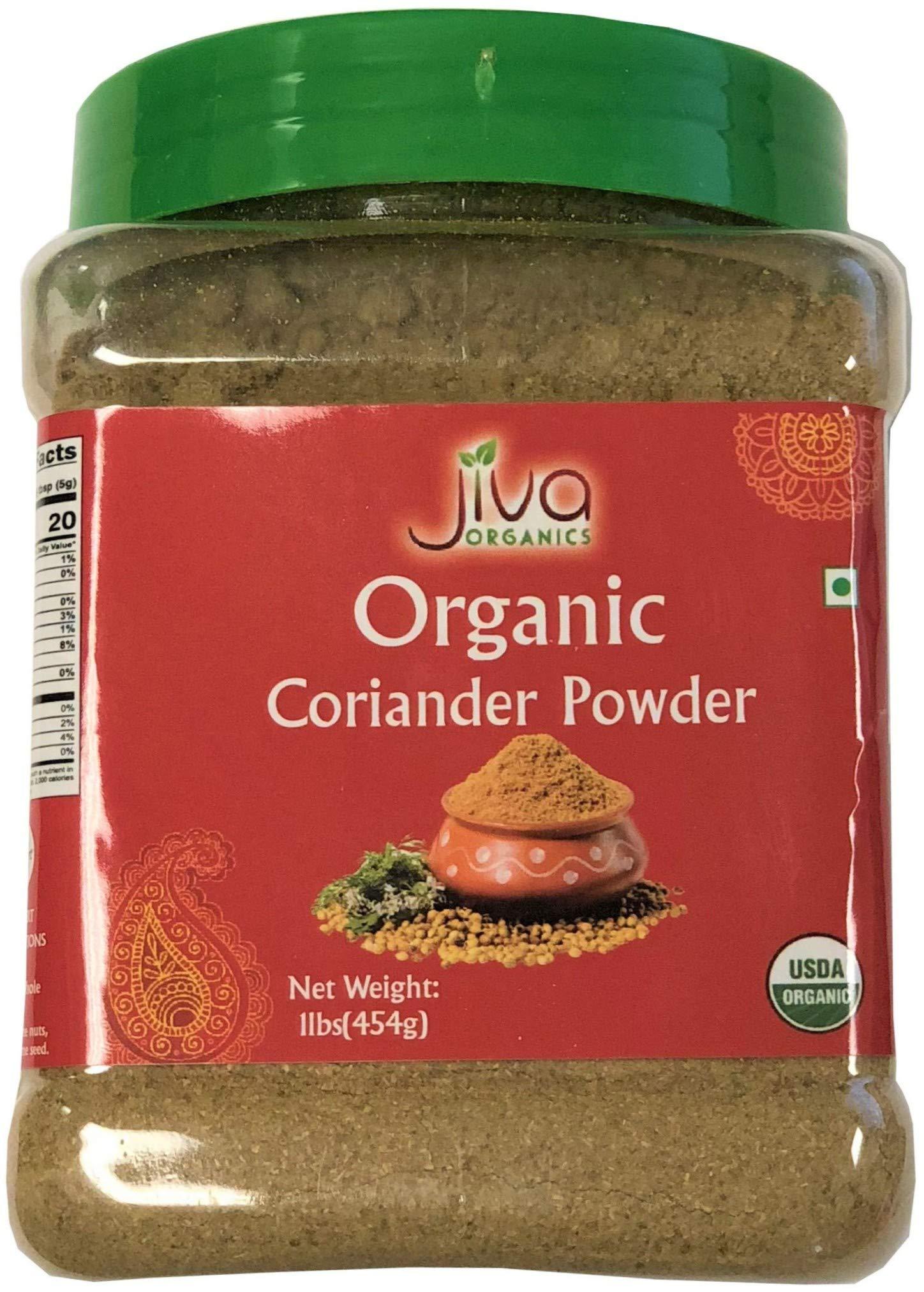 Jiva USDA Organic Coriander Powder 1LB (16oz) - Packaged in Resealable Jar
