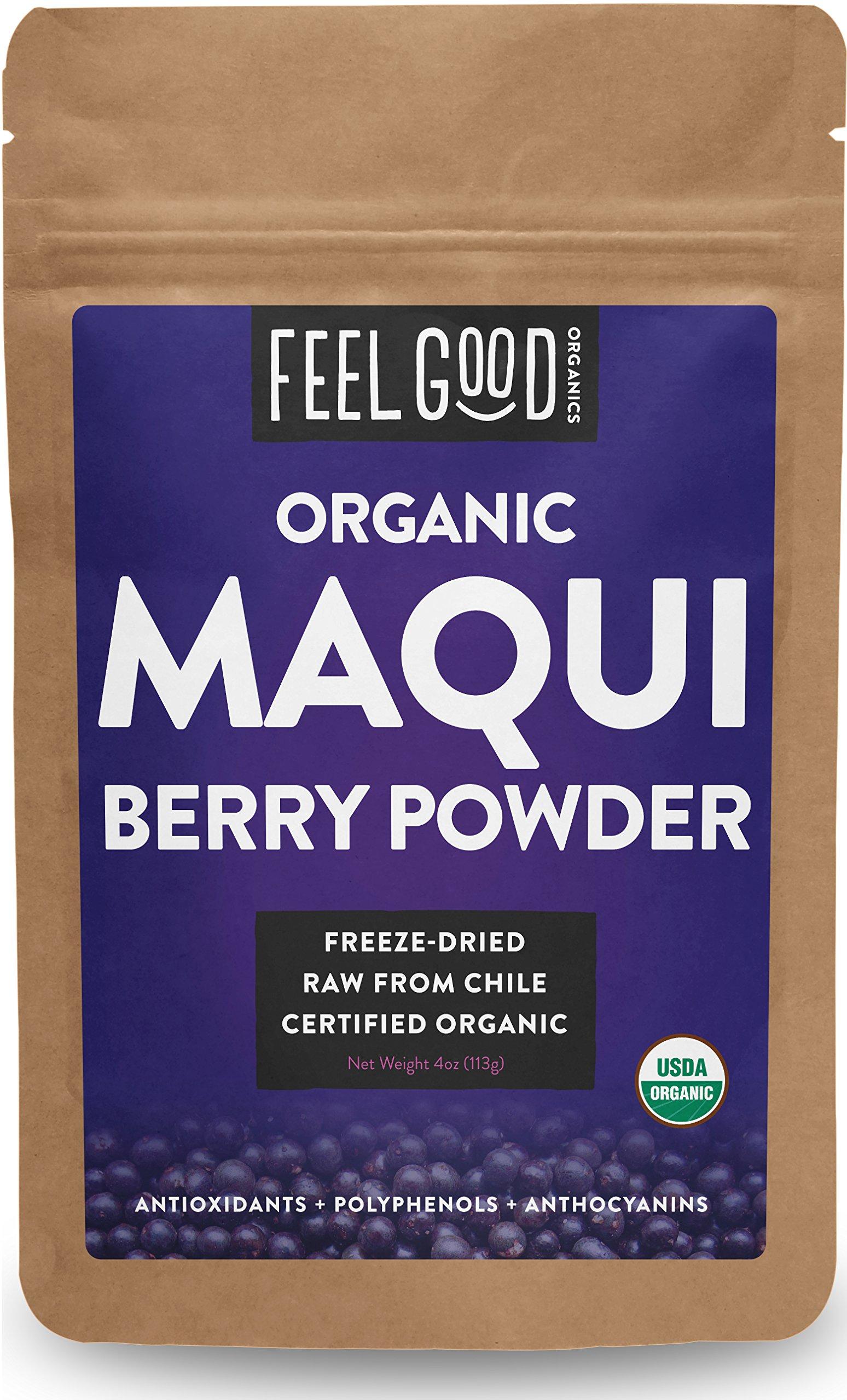 Organic Maqui Powder - 4oz Resealable Bag - 100% Raw From Chile - by Feel Good Organics