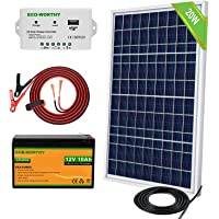 ECO-WORTHY 20W 30W 12V Portable Waterproof PV Polycrystalline Solar Panel System kit with Charge Controller & Clips…