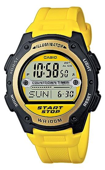 Casio W-756-9AVES - Reloj digital de caballero de cuarzo con correa de resina amarilla (cronómetro, alarma, luz) - sumergible a 100 metros: Amazon.es: ...