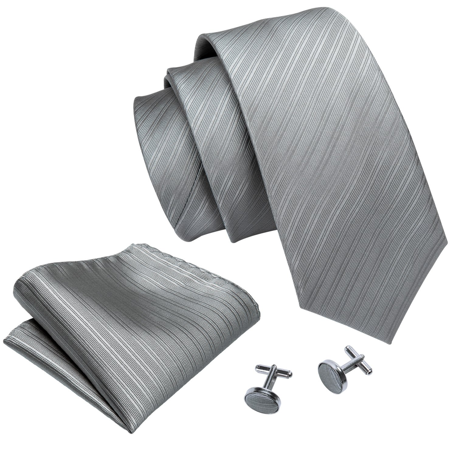Grey Men Ties Silk Necktie Set Handkerchief Cufflinks Business