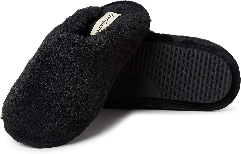 Dearfoams Women's Bailey Plush faux faux fur Scuff Slipper
