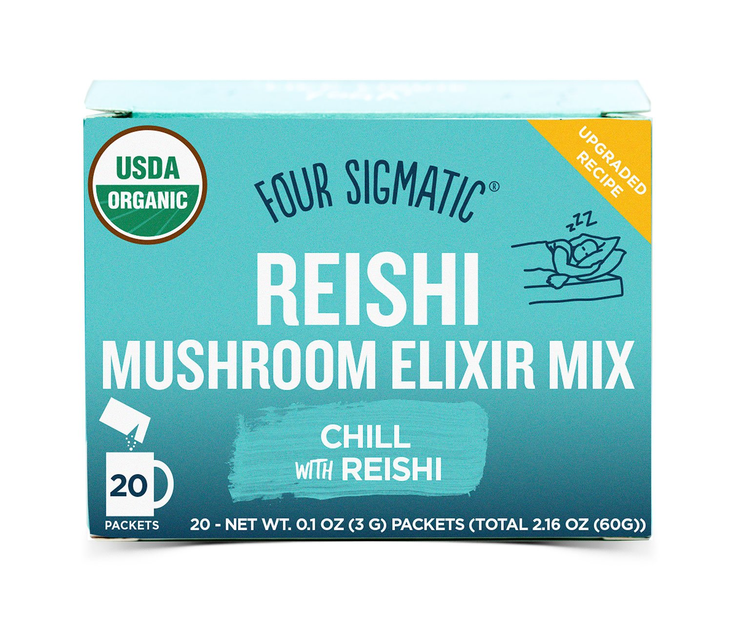 Four Sigmatic Reishi Mushroom Elixir, USDA Organic, chill and sleep, Vegan, Paleo, 20 Count