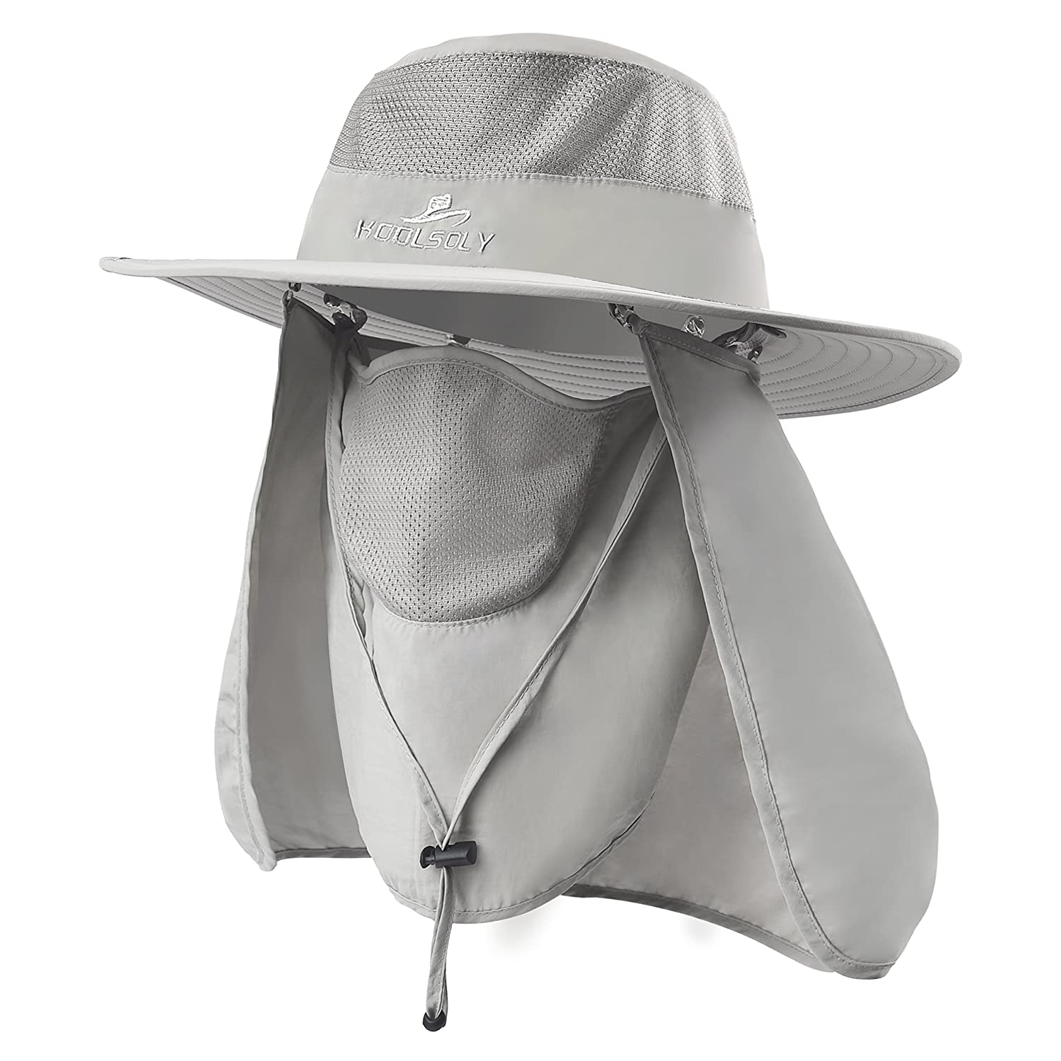 KOOLSOLY Outdoor Sun Cap for Men Women,Fishing Hat UPF 50+ UV Sun Protection with Removable Neck Flap, Face Cover Mask & Windproof Strip, Sun Hat for Outdoor Sports & Travel