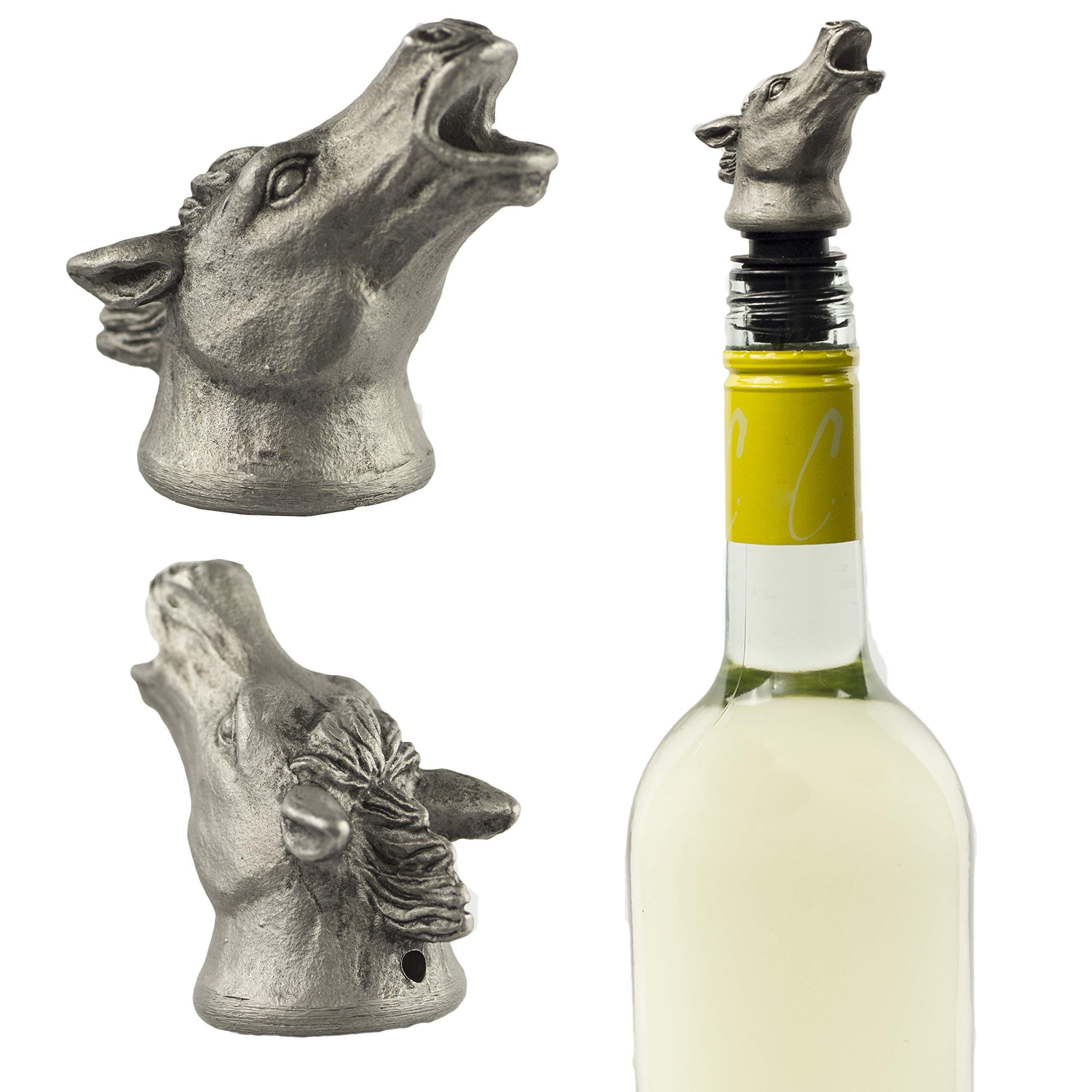 Stainless Steel Horse Wine Pourer, Aerator and Decanter - Perfect Pour Spout for Red, White and Rose Wine, Liquor and Olive Oil! by Choko Entertainment