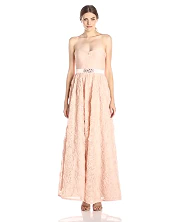 Adrianna Papell Women's Pleat Bodice Rosette Ball Gown, Blush, 14