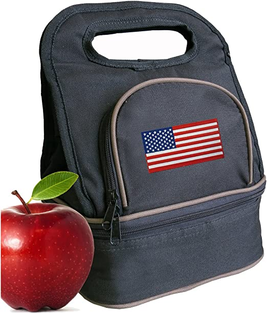 American Flag Lunch Bag Lunchbox Cooler Lunchboxes 2 SECTIONS!
