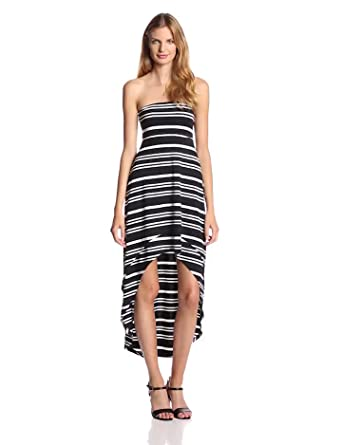 Jessica Simpson Women's Sybil Hi Low Strapless Dress, Jet Black Breton Stripe, Medium