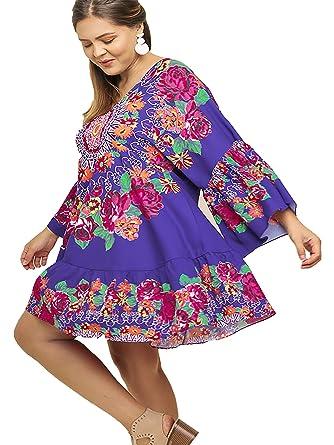 e256a77fa00 Umgee Womens Floral Medallion Print Ruffle Sleeve V-Neck Dress at Amazon  Women s Clothing store