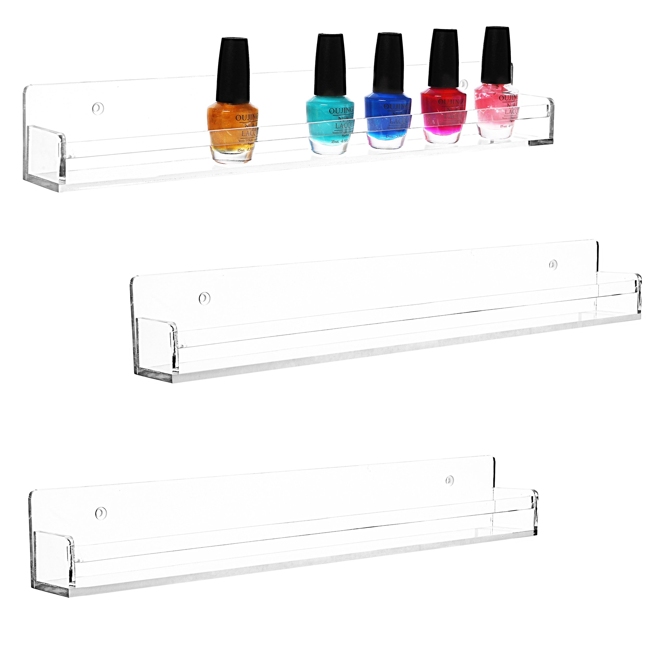 Set of 3 Clear Acrylic Wall Mountable Nail Polish & Essential Oil Display Shelves