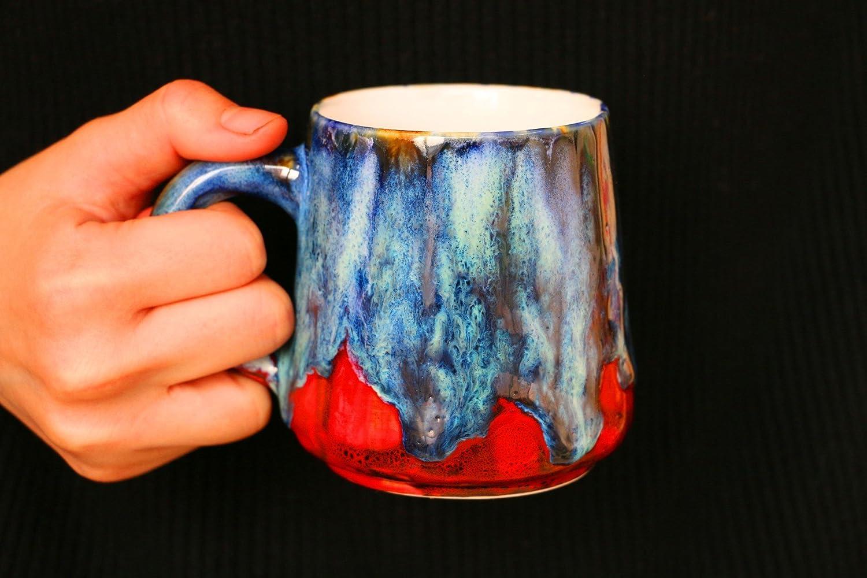 Fiery flame mug, Ceramic mug, Pottery mug handmade, Ready to ship, 12 Oz, blue drop mug, handmade mug, personalized, unique gift