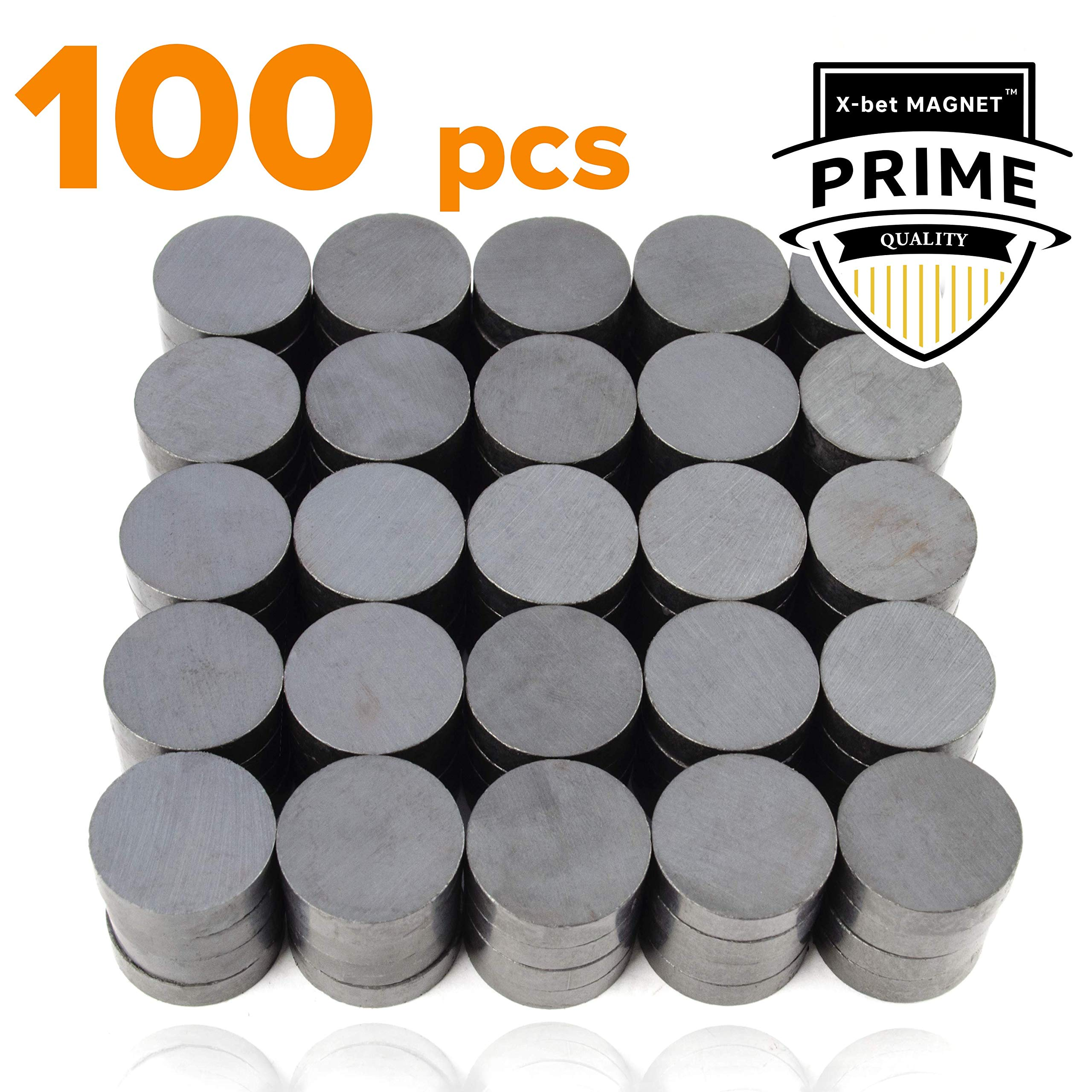 X-bet MAGNET ™ 100 pcs Ceramic Magnets - Tiny 18 mm (.709 inch) Round Disc - Flat Circle Magnets Bulk for Crafts, Science & hobbies - Perfect for Refrigerator, Whiteboard, Fridge by X-bet MAGNET
