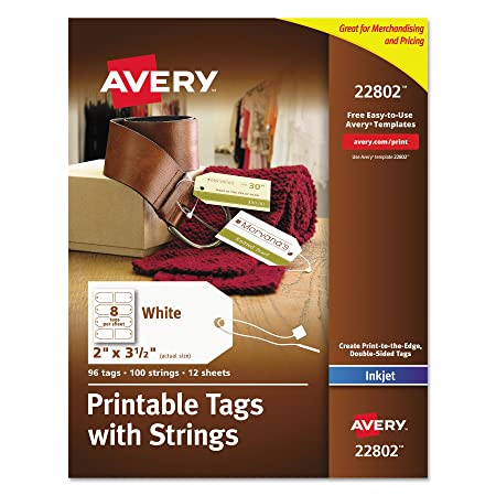Avery Printable Tags With Strings For Inkjet Printers 2 Inch X 3 1