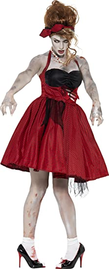 1950s Costumes- Poodle Skirts, Grease, Monroe, Pin Up, I Love Lucy Smiffys Womens Zombie 50s Rocakabilly $46.52 AT vintagedancer.com