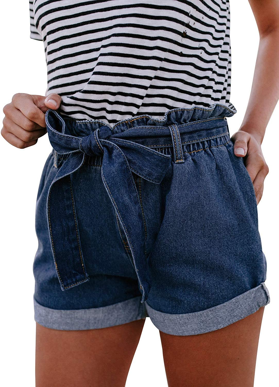 Details about  /Women High Waisted Jeans Shorts Ripped Destroyed Denim Pants Hot pants Summer