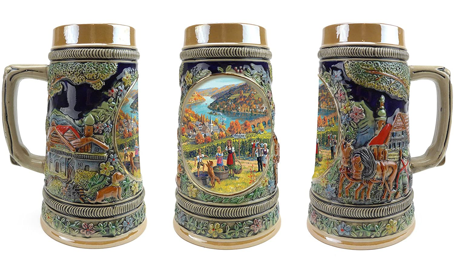 """Fall In Germany"" Essence of Europe Gifts E.H.G. Collectible Ceramic Beer Stein (#1 in Collection of Four Steins) S4626"