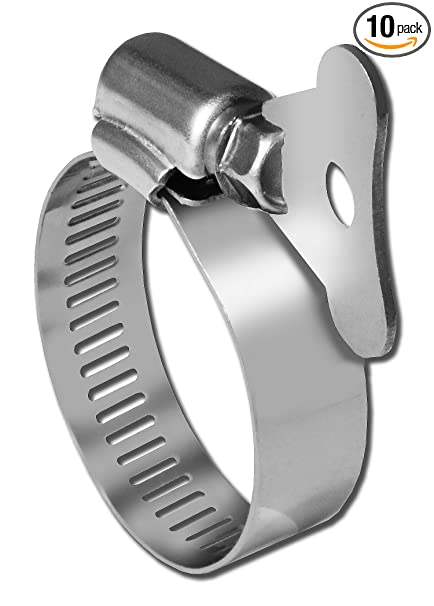 Pro Tie 33103 SAE Size 32 Range 1-9/16-Inch-2-1/2-Inch SS Turn Key All  Stainless Hose Clamp, 10-Pack