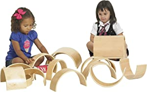 ECR4Kids Natural Hardwood Curved Play Tunnel and Arch Blocks (20-Piece)