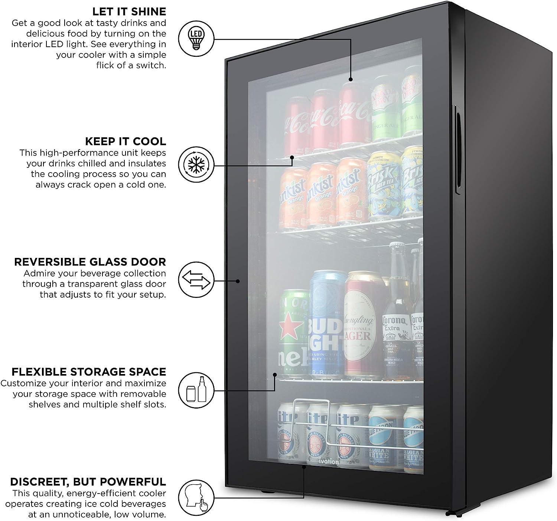 Cocktails Black Ivation 126 Can Beverage Refrigerator Beer Reversible Glass Door /& Adjustable Shelving Freestanding Ultra Cool Mini Drink Fridge Soda Juice Cooler for Home /& Office