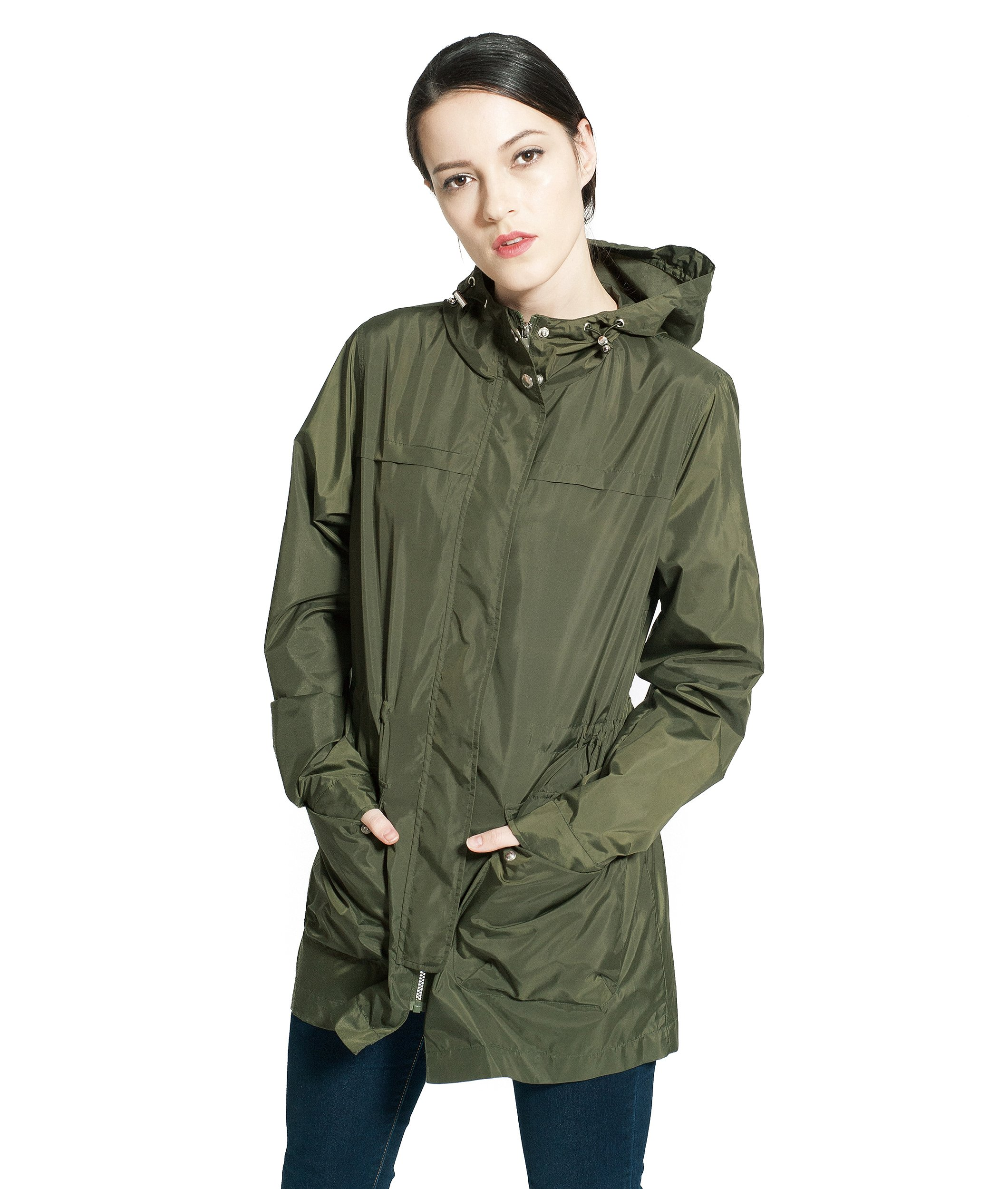 Rokka&Rolla Women's Lightweight Water-Resistant Active Outdoor Mid Hooded Trench Raincoat Windbreaker Jacket