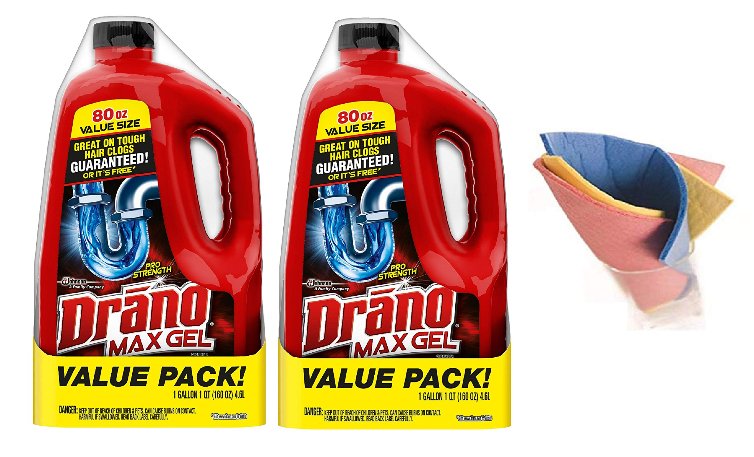 Drano Value Pack 80 fl oz Max Gel Clog Remover (Pack of 2) Made in USA + FREEBIES