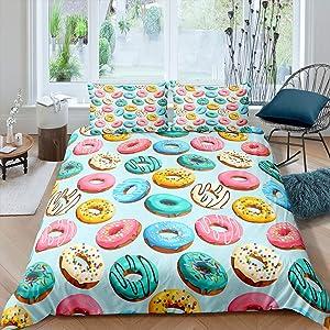 Erosebridal Donut Comforter Cover Dessert Duvet Cover Food Theme Quilt Cover Colorful Print Bedding Set for Child Boy Girl Adult, Soft Microfiber (1 Duvet Cover 2 Pillow Cases),Queen Size