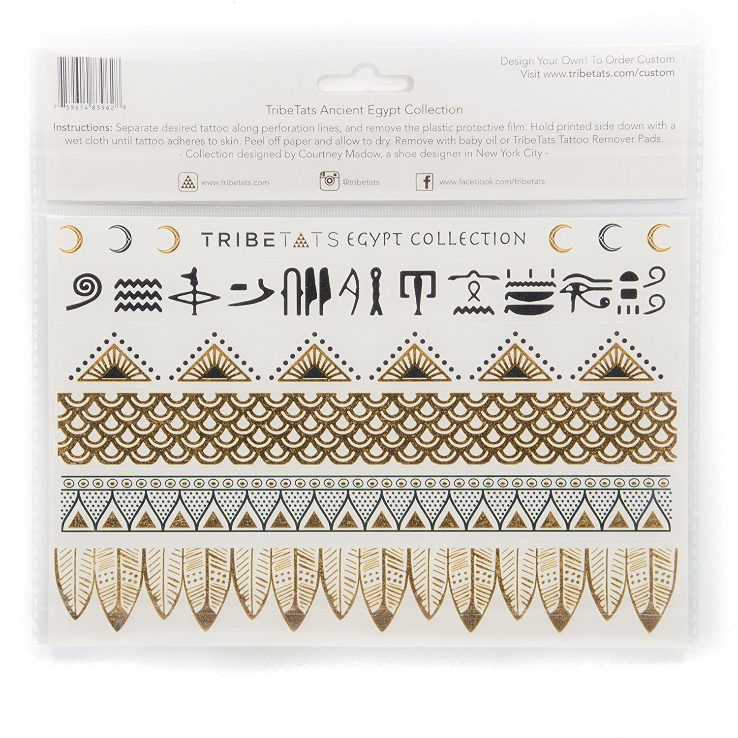 ada5493e8 Amazon.com : Ancient Egypt Collection - Designer Metallic Flash Temporary  Tattoos by TribeTats - Black & Gold Egyptian, Henna Inspired Body Art -  Includes: ...