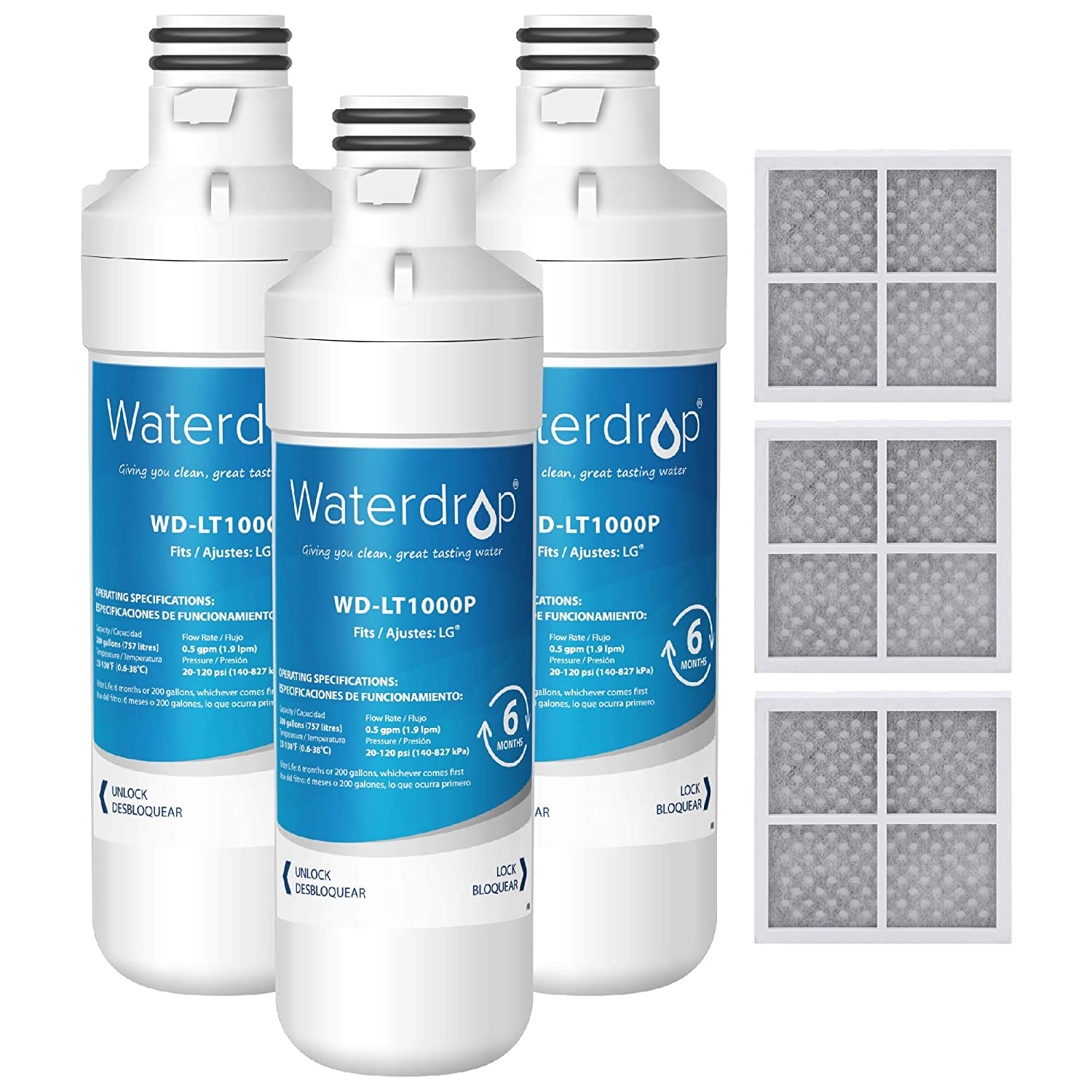Waterdrop MDJ64844601 Refrigerator Water Filter and Air Filter, Compatible with LG LT1000P, LT1000PC, MDJ64844601, Kenmore 46-9980, 9980, ADQ74793501, ADQ74793502 and LT120F Combo, Pack of 3