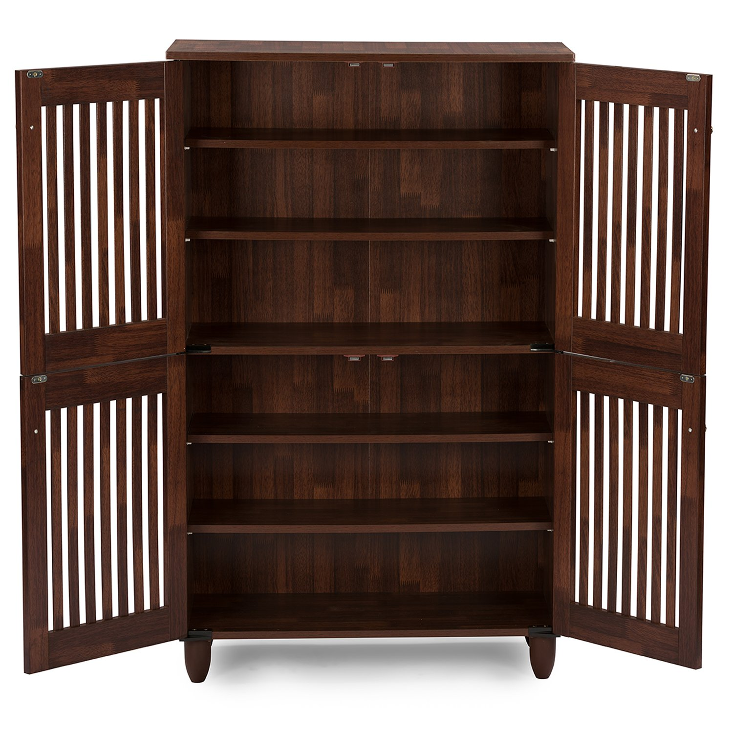 Charming Amazon.com: Wholesale Interiors Baxton Studio Fernanda Modern And  Contemporary 4 Door Oak Brown Wooden Entryway Shoes Storage Tall Cabinet:  Kitchen U0026 Dining