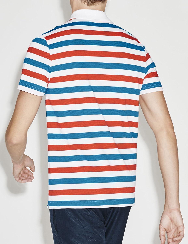 Lacoste Men s Sport Lightweight Striped Knit Tenis Polo, Marine ...