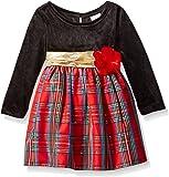Youngland Baby Girls' Velour Bodice Long Sleeve Taffeta Plaid Dress