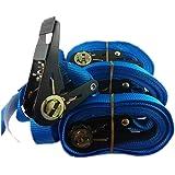 4+2 Stk Spanngurte Ratschenspanngurt Spanngurt mit Ratsche Zurrgurt 800kg / 5 Meter Qualität nach En12195-2 Farbe blau , sowie Zurrgurte mit Klemmschloss Schnellverschluss Befestigungsriemen Fahrradträger , iapyx®