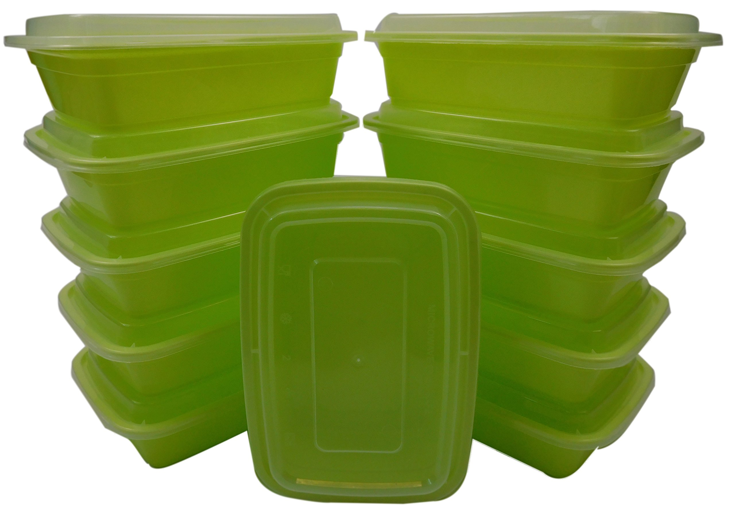 Table To Go 300-Pack Bento Lunch Boxes with Lids (1 Compartment/ 32 oz) | Microwaveable, Dishwasher & Freezer Safe Meal Prep Containers | Reusable Dish Set for Prepping, Portion Control & More (Green)
