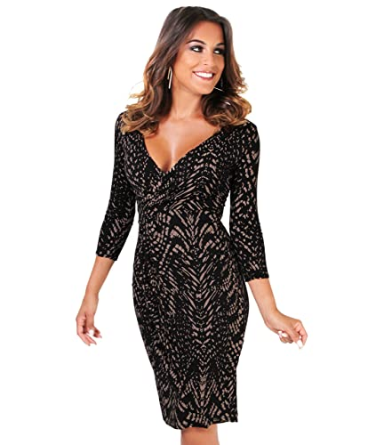 KRISP Women's Summer Fashion Casual 3/4 Sleeve Snakeskin Jersey Wrap Midi Stretch Dress US 4-16