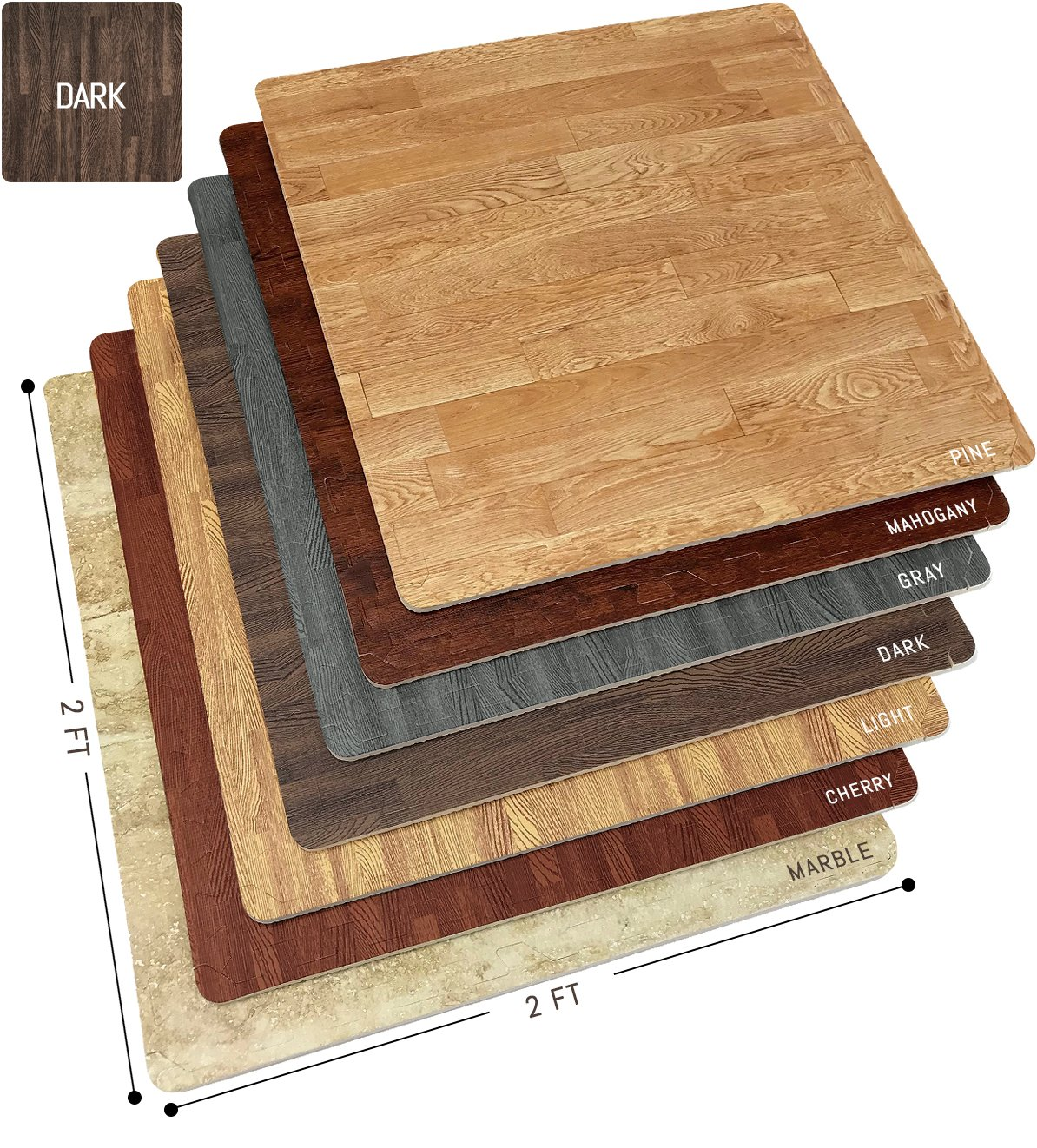 Sorbus Wood Floor Mats Foam Interlocking Wood Mats Each Tile Measures 4 Square Feet 3/8-Inch Thick Puzzle Wood Tiles with Borders for Home Office Playroom Basement (4 Tiles 16 Sq ft Wood Grain - Dark)