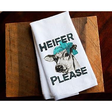 Cow Funny Kitchen Towel Farm Home Decor Gift Heifer Please