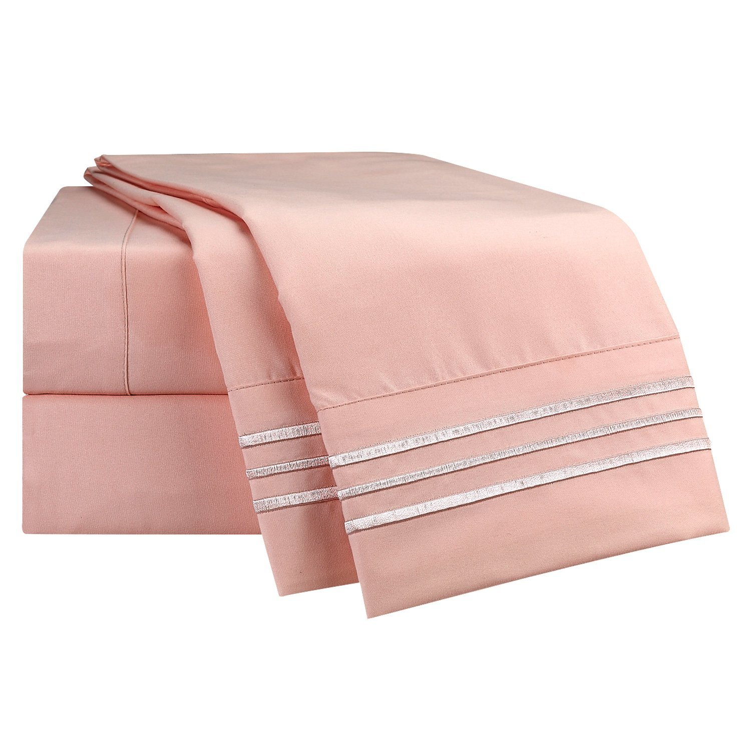 Full Size Bed Sheets Set Peach, Bedding Sheets Set on Amazon, 4-Piece Bed Set, Deep Pockets Fitted Sheet, 100% Luxury Soft Microfiber, Hypoallergenic, Cool & Breathable by Nestl Bedding (Image #6)