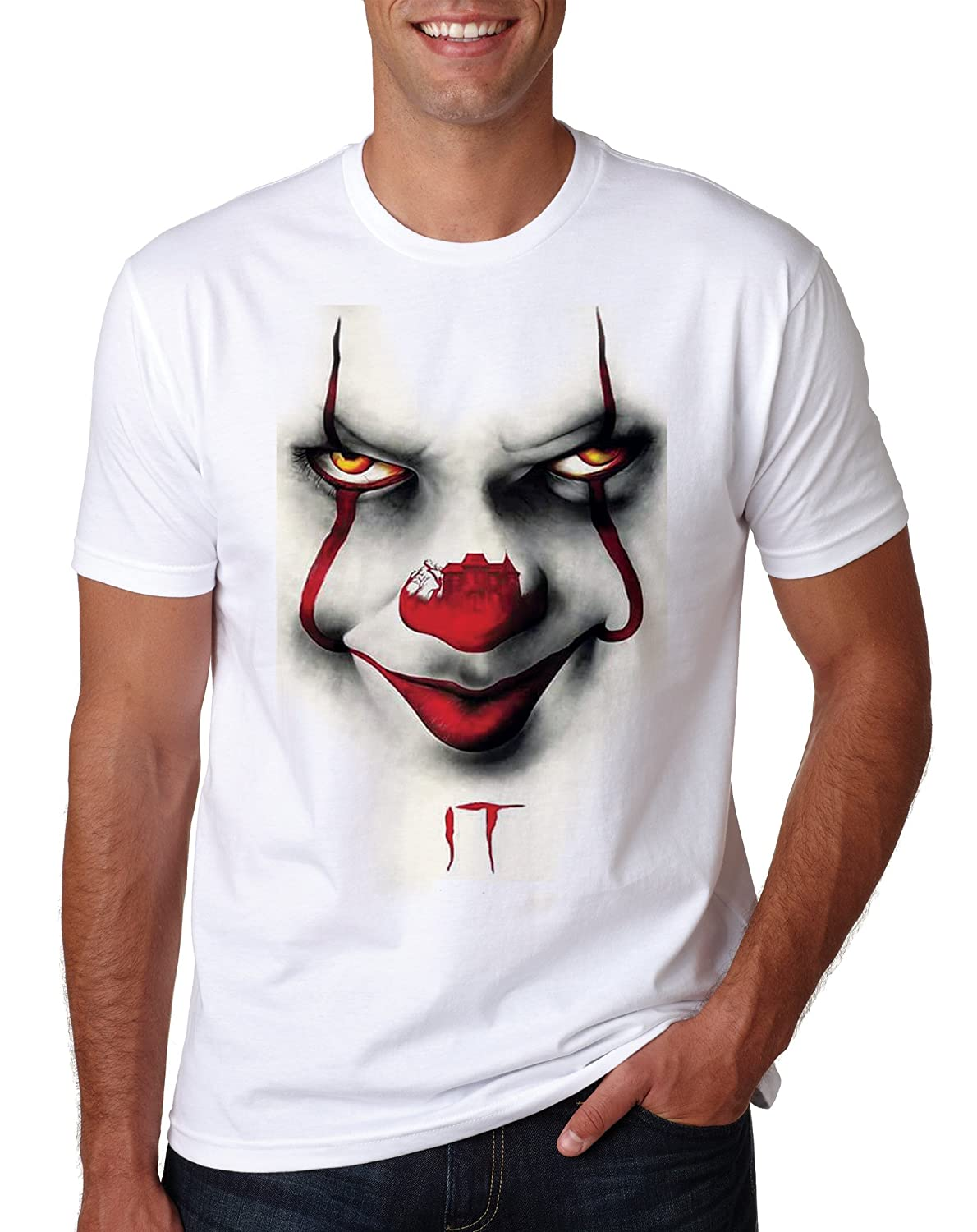 e342cf10a 2019 Clown King Stephen T Pennywise Float Shirt Tee We All Down Here Horror  Tshirt Top Mens Inspired Funny Creepy Scary: Amazon.co.uk: Clothing