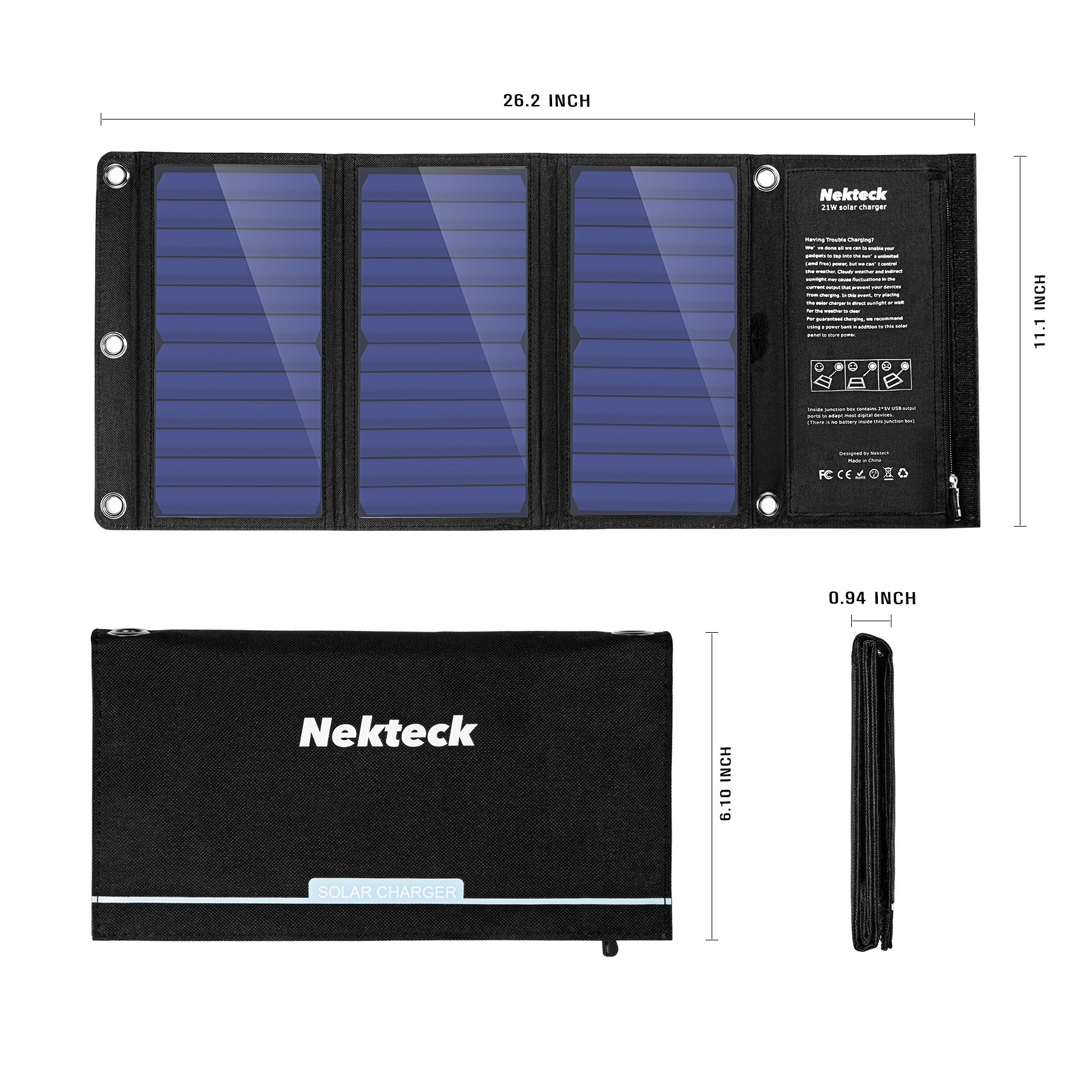 Nekteck 21W Solar Charger with 2-Port USB Charger Build with High Efficiency Solar Panel Cell for iPhone 6s / 6 / Plus, SE, iPad, Galaxy S6/S7/ Edge/Plus, Nexus 5X/6P, Any USB Devices, and More by Nekteck (Image #6)