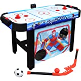 Hathaway Rapid Fire 42-in 3-in-1 Air Hockey Multi-Game Table with Soccer and Hockey Target Nets for Kids