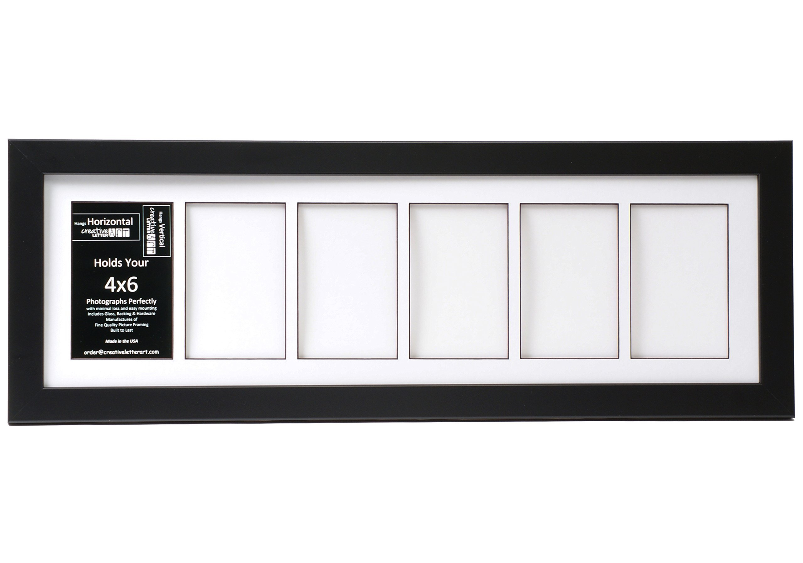 Creative Letter Art [8x26bk-w] 6 Opening Glass Face Black Picture Frame Holds 4x6 Media with White Collage Mat by Creative Letter Art