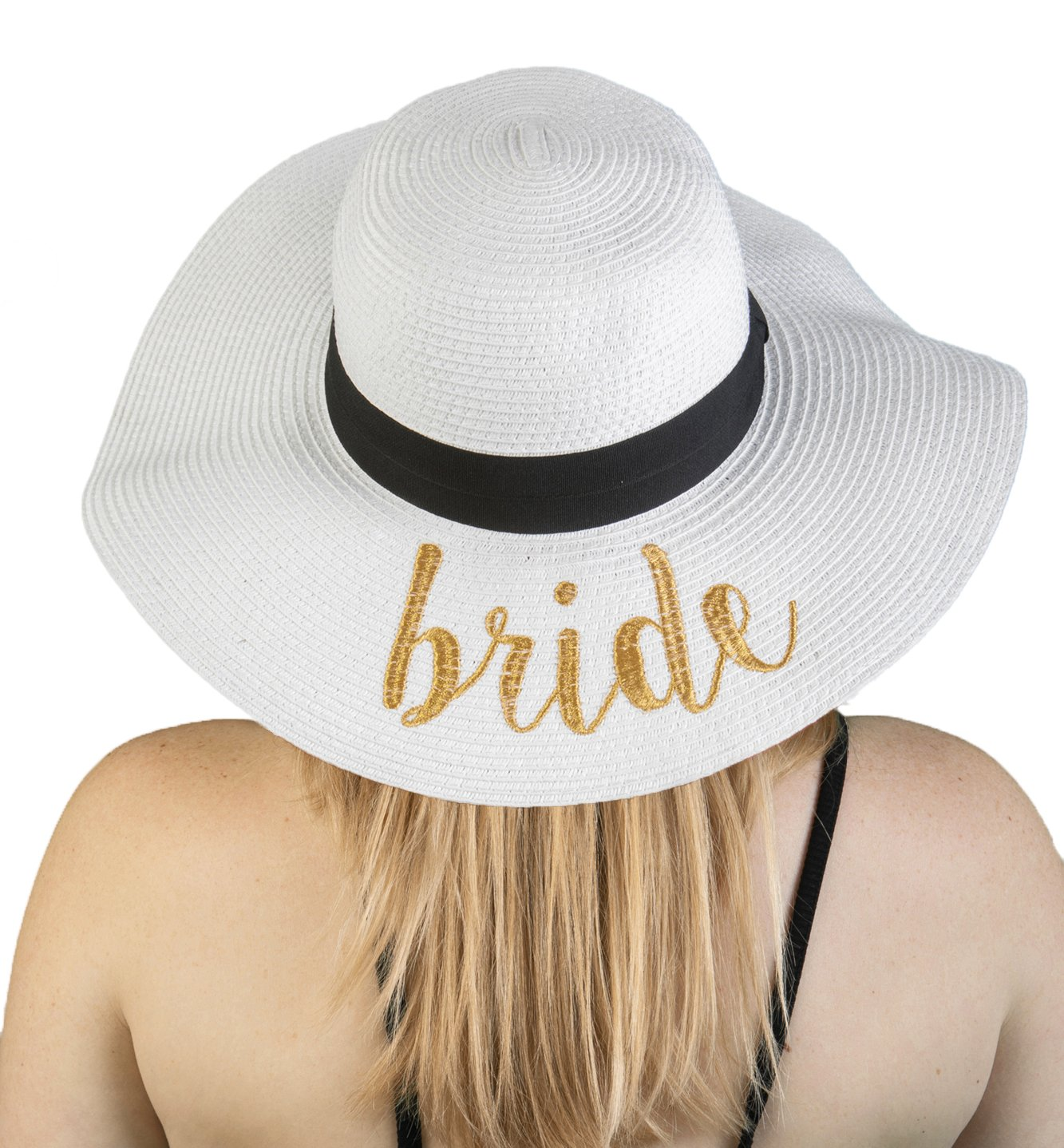 H-2017-B-WG Embroidered Bridal Sun Hat - Bride (White/Gold) by Funky Junque