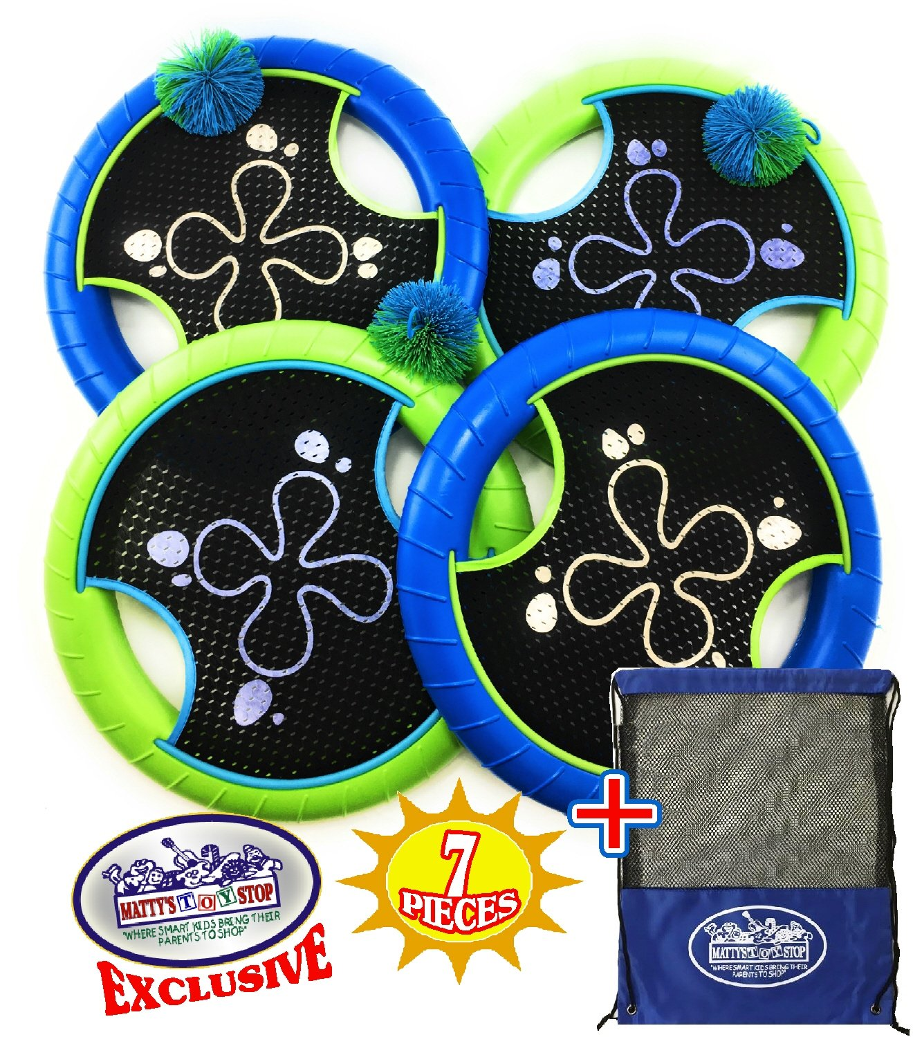 Matty's Toy Stop Deluxe Trampoline Extreme Paddle Ball Set for 4 Players - Includes 4 (12'') Trampoline Paddles, 3 Rubber String Balls & Storage Bag by Matty's Toy Stop