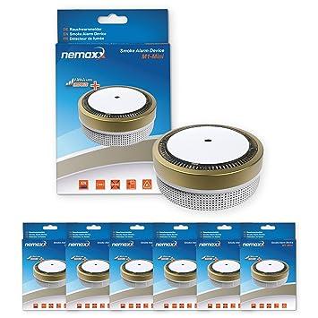 6X Nemaxx Detector de Humo M1-Mini sensibilidad fotoeléctrica - con batería de Litio Tipo