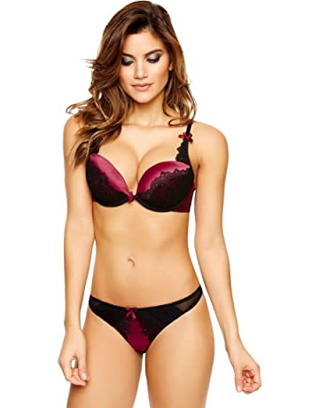 d361cf66ff689 Ann Summers Womens Teagan Triple Boost Bra Satin Red Sexy Lingerie Underwear