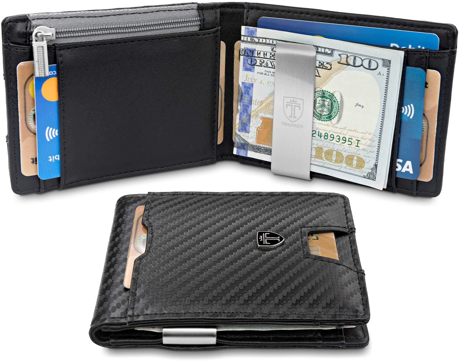 Money Clip Wallet for Coins''LONDON'' RFID Blocking Wallet | Slim Wallet | Credit Card Holder | Travel Wallet | Minimalist Mini Wallet Bifold for Men with Gift Box TRAVANDO by Travando